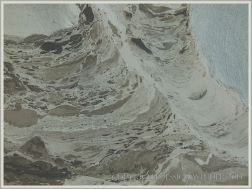 """Pattern in the """"skin"""" forming on a recent liquified mud flow to the beach from the blue-grey Eype Clay Member"""