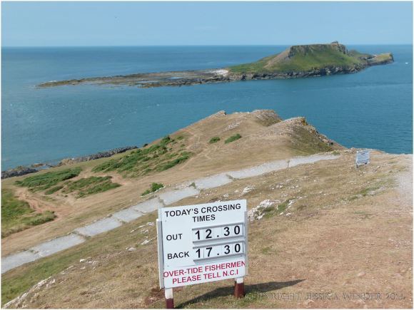 View of Worms Head with high tide over the causeway