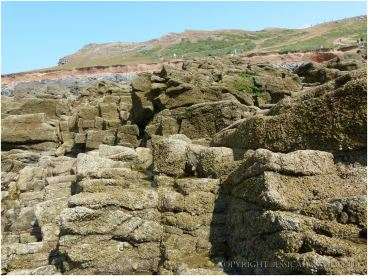 Jagged 2 metre high rocks form an obstacle course for visitors to the causeway