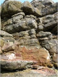 Bright orange patches are revealed on the Worms Head Causeway where rock has been smashed by winter storms
