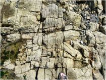 Natural fracture patterns in levelled limestone strata at the centre of the Worms Head Causeway