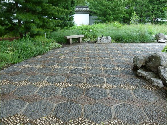 Pebble patterned path in the Chinese garden at Jardin Botanique de Montreal