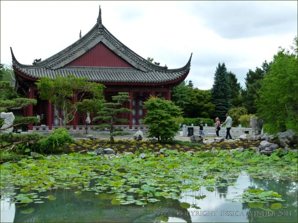 Pavilion by the lake in the Chinese Garden at Jardin Botanique de Montreal