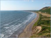 View looking north along Rhossili Beach