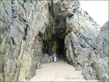 Entrance to a larger cave on South Beach in Tenby