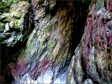 Cave with red and green walls in Tenby
