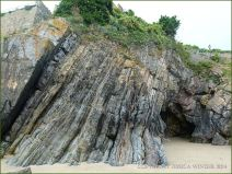 Entrance to a large cave in Caswell Bay Mudstones in Tenby