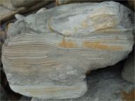 Detail of stratification on a small scale in a beach boulder