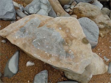 Two tone sedimentary rock boulder on the seashore where the blue-grey stone weathers to yellow on exposure to air