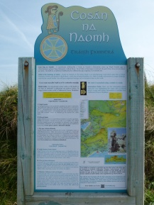 Sign about the pilgrims' path along Ventry Beach
