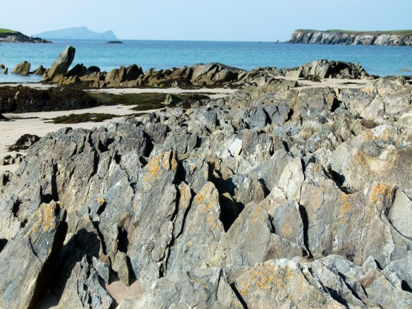 Layers of upstanding Silurian rock on the beach