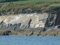 Slabs of sloping Silurian rock forming cliffs