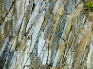 Natural fracture patterns in cliffs made of Silurian sedimentary rock