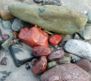 Pebbles on the beach with bright red jasper