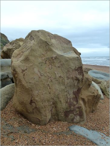 Rocks on the beach at Eype in Dorset, England