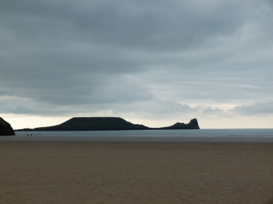 View of Worms Head which terminates the cliffs of the Rhossili Headland