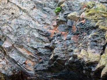 Rhossili cliff limestone rock strata