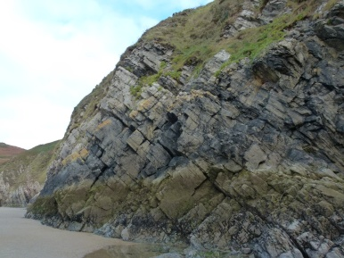 Dipping strata make diagonal lines on a Rhossili cliff face
