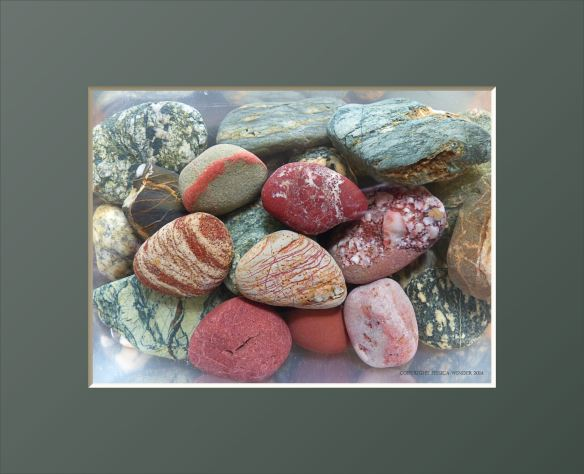 Green and red patterned pebbles