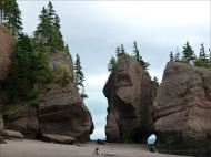 "Sea-stacks known as ""flower pots"" at Hopewell Rocks in New Brunswick"
