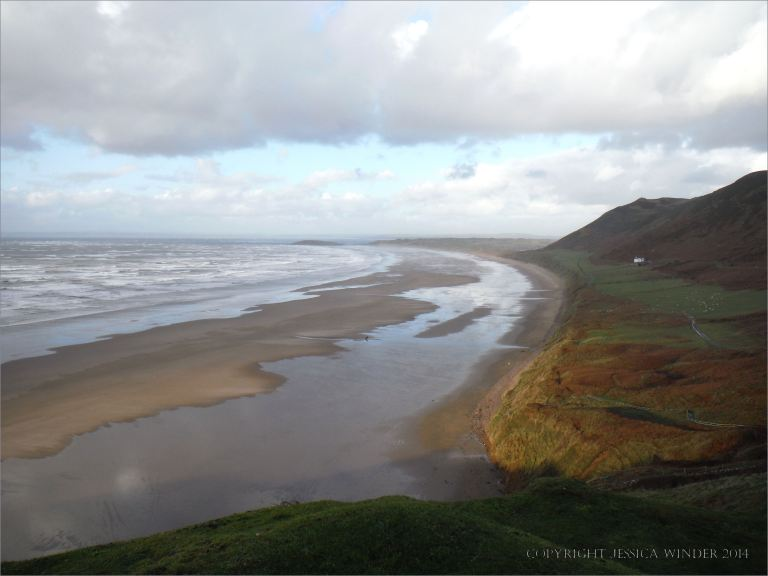 View of Rhossili beach on the Gower Peninsula in South Wales on 23rd December 2013