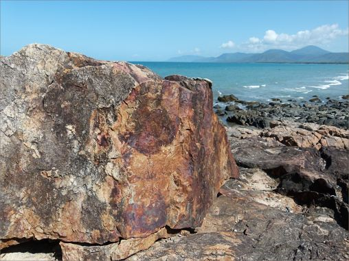 Rusty rock on the Lookout outcrop at Four Mile Beach in Port Douglas