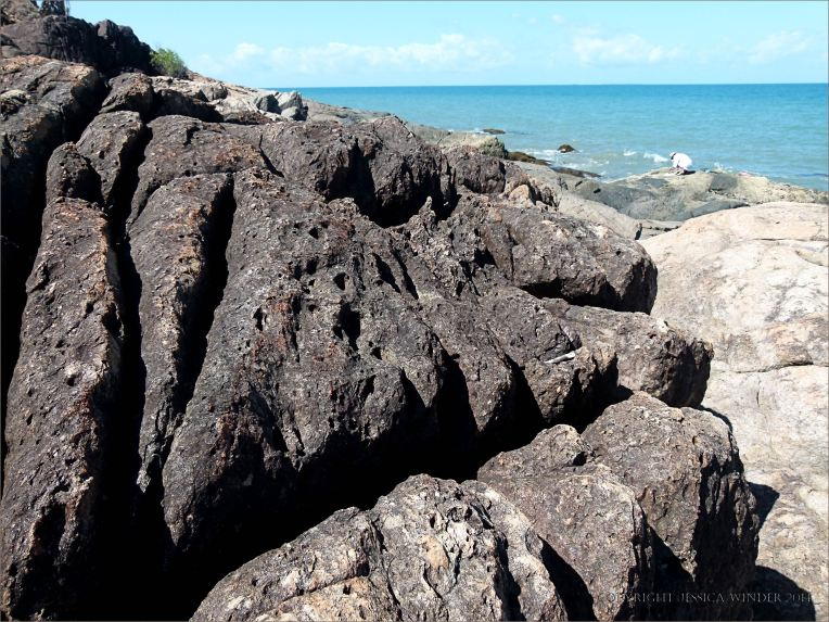 Structure of rocks on the outcrop with the Lookout near Four Mile Beach in Port Douglas