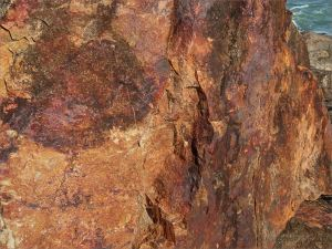 Close-up of rusty rock in an outcrop near Four Mile Beach in Port Douglas