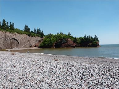Triassic Period rocks in cliffs at St Martins, New Brunswick