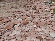 Red Triassic rocks on Waterside Beach in New Brunswick