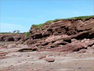 Red Triassic rocks in low cliffs on Waterside Beach in New Brunswick