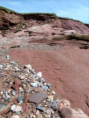 The beach and cliffs at Waterside, New Brunswick.