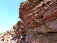 Cliff face with layers of red Triassic rocks at Waterside in New Brunswick.
