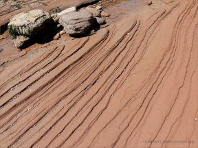 Pattern of lines showing rock layers in water-worn bedrock on the shore at Waterside in New Brunswick