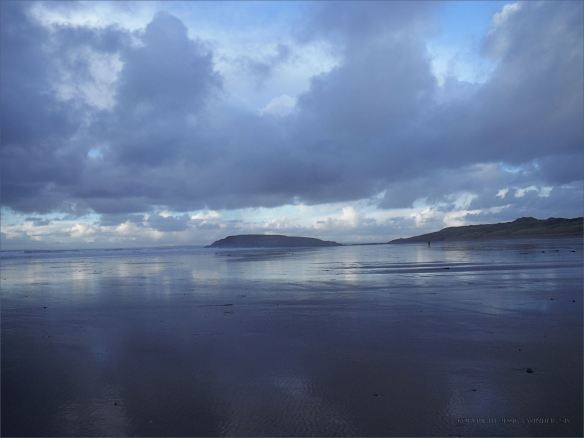 View looking north across Rhossili beach towards Burry Holms, 25th December 2013