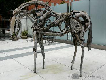 Driftwood sculpture horse on Portland, Oregon