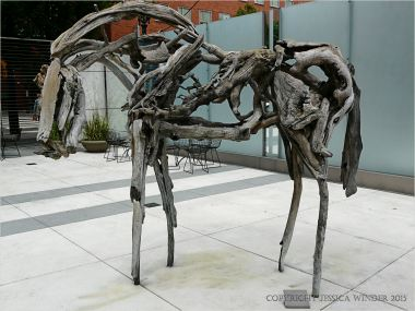 Driftwood sculpture horse on Portland, Oregon
