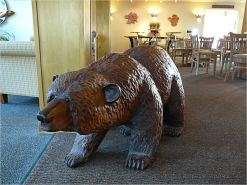 Life sized carved wooden bear at the Overleaf Lodge in Yachats, Oregon.