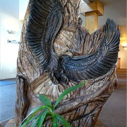 Carved wooden eagle at Overleaf Lodge, Yachats, Oregon.