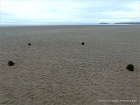 View looking towards the sea and Burry Holms with stumps of wooden posts belonging to an unidentified structure on Rhossili beach