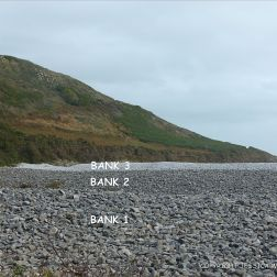 Shingle banks at Pwll Du Bay