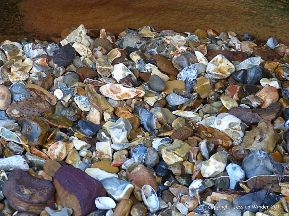 Flint pebbles on the north side of Redend Point at Studland Bay in Dorset, England.