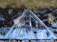 Large ice crystals growing in a triangular formation on the edge of a fountain
