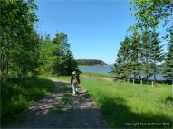 View along the shoreline at Lord Selkirk Provincial Park in Prince Edward Island, Canada
