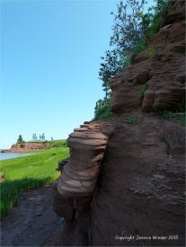 View along the shoreline at Lord Selkirk Provincial Park in Prince Edward Island, Canada, with lush green early summer vegetation and red Permian rock strata.