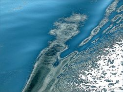 Seafoam pattern on the swell of a bow wave with micro-ripples from the engines of the passing ferry on the Northumberland Strait