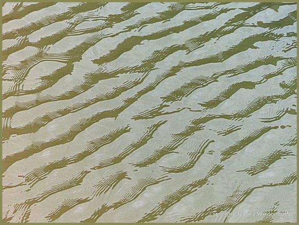 Close-up photograph of reflected light on rippled water