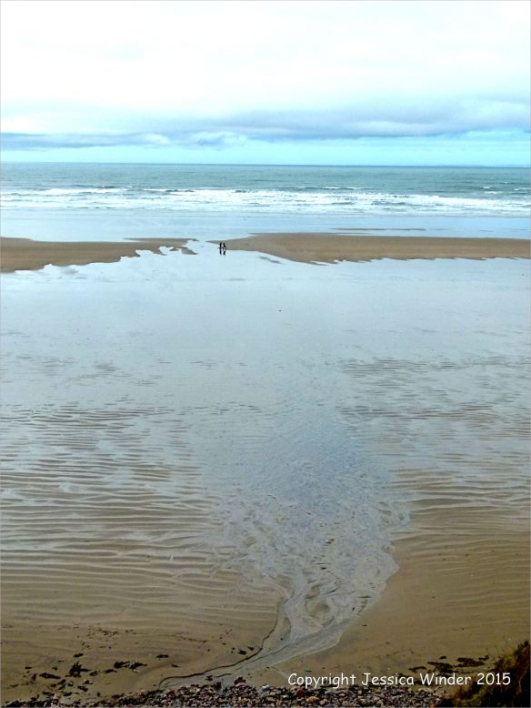 Silvery sand patterns at Rhossili Bay