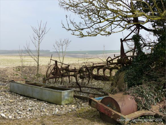 Rusting agricultural machinery on Charlton Down