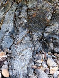Detail of natural pattern and texture in rock from the Mylor Slate Formation